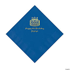 Blue Birthday Cake Personalized Napkins - Luncheon