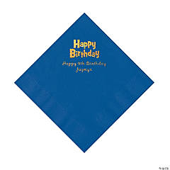 Blue Birthday Personalized Napkins with Gold Foil - Luncheon