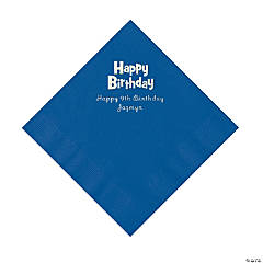 Blue Birthday Personalized Napkins with Silver Foil - Luncheon