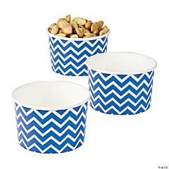 Blue Chevron Snack Paper Bowls