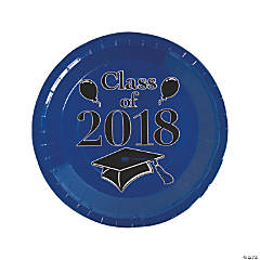 Blue Class of 2018 Grad Party Dinner Paper Plates