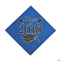 Blue Class of 2018 Grad Party Luncheon Napkins