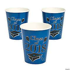 Blue Class of 2018 Grad Party Paper Cups