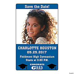 Blue Congrats Grad Custom Photo Magnets