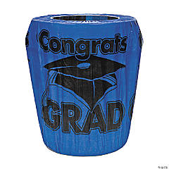 Blue Congrats Grad Graduation Plastic Trash Can Cover