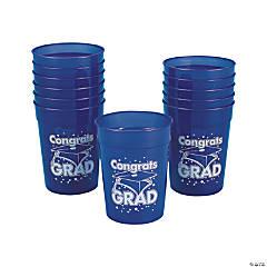 Blue Congrats Grad Plastic Cups