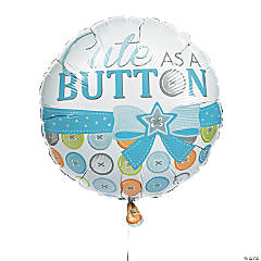 Blue Cute As a Button Mylar Balloon