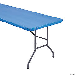 Blue FItted Rectangle Plastic Tablecloth