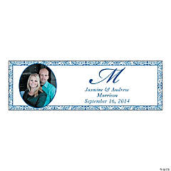 Blue Flourish Medium Custom Photo Banner