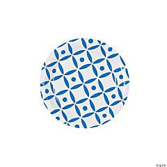 Blue Geometric Dessert Paper Plates