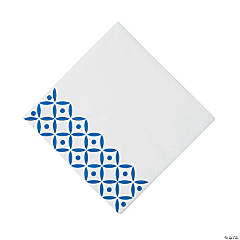 Blue Geometric Luncheon Napkins