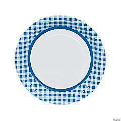 Blue Gingham Paper Dinner Plates