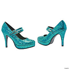 Blue Glitter Alice Shoes