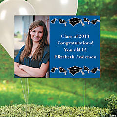 Blue Graduation Custom Photo Yard Sign