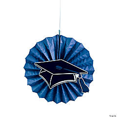 Blue Graduation Hanging Fans with Icons
