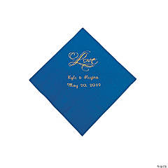 "Blue ""Love"" Personalized Napkins with Gold Foil - Beverage"