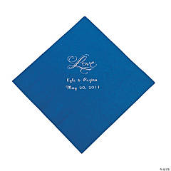 "Blue ""Love"" Personalized Napkins with Silver Foil - Luncheon"