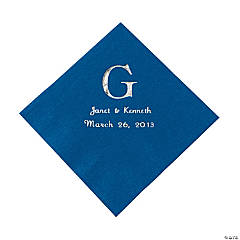 Blue Monogram Wedding Personalized Napkins with Silver Foil - Luncheon