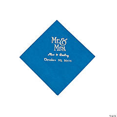 Blue Mr. & Mrs. Personalized Napkins with Silver Foil - Beverage