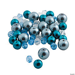Blue Pearl & Bicone Crystal Bead Mix - 6mm - 9mm