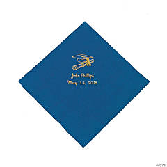 Blue Personalized Graduation Luncheon Napkins - Gold Print