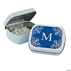 Blue Personalized Monogram Mint Tins