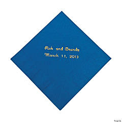 Blue Personalized Napkins with Gold Foil - Beverage