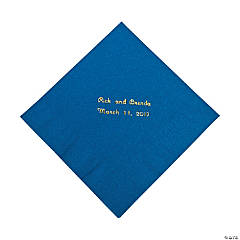 Blue Personalized Napkins with Gold Foil - Luncheon