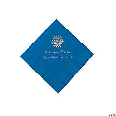 Blue Personalized Snowflake Beverage Napkins - Silver Print