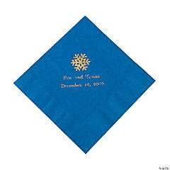 Blue Personalized Snowflake Luncheon Napkins - Gold Print