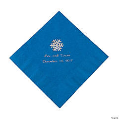 Blue Personalized Snowflake Luncheon Napkins - Silver Print