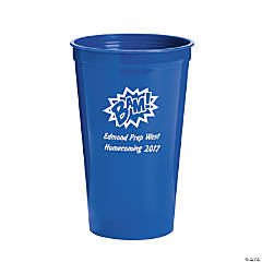 Blue Personalized Superhero Plastic Tumblers