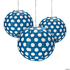Blue Polka Dot Hanging Paper Lanterns