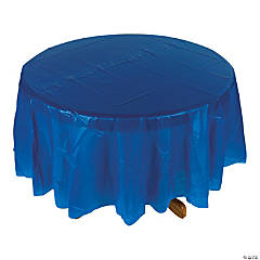 Blue Round Plastic Tablecloth