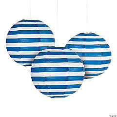Blue Striped Hanging Paper Lanterns
