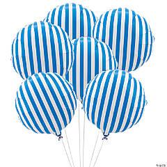 Blue Striped Mylar Balloons