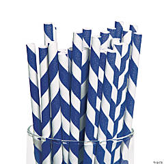 Blue Striped Paper Straws
