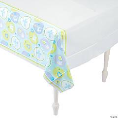 Blue Sweet Christening Plastic Tablecloth