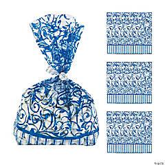 Blue Swirl Cellophane Bags