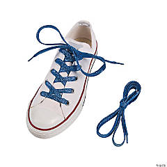 Blue Team Spirit Metallic Shoelaces