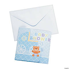Blue Teddy Bear Baby Shower Invitations
