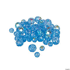 Blue Topaz Aurora Borealis Cut Crystal Round Beads - 4mm-6mm
