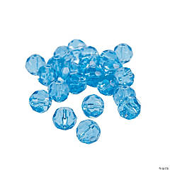Blue Topaz Cut Crystal Round Beads - 8mm