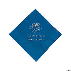 Blue Wedding Bell Personalized Napkins with Silver Foil - Beverage