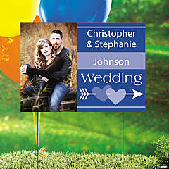 Blue Wedding Custom Photo Yard Sign
