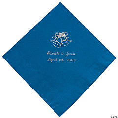 Blue Wedding Personalized Napkins with Silver Foil - Luncheon