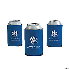 Blue Winter Wonderland Personalized Can Coolers