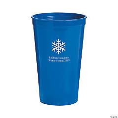 Blue Winter Wonderland Personalized Plastic Tumblers