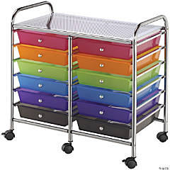 Bluee Hills Studio Double Storage Cart W/12 Drawers, Multicolor-25.5