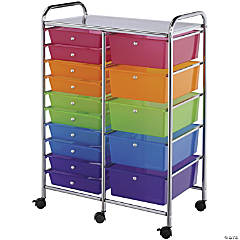 Bluee Hills Studio Double Storage Cart W/15 Drawers, Multicolor-25.5